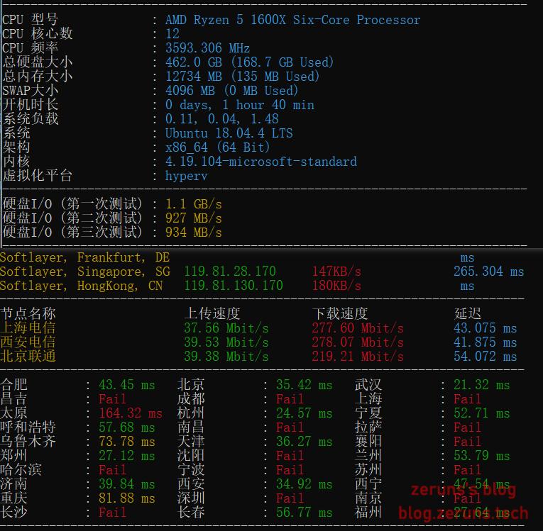 Zench - Linux服务器/VPS性能和带宽测试脚本汇总